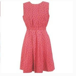 kate spade leopard dot pleated dress pink 4 nwot